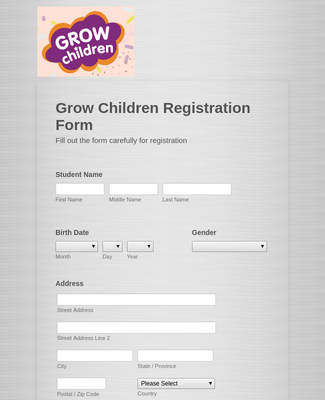 Grow Children Registration Form