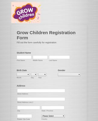 Grow Children Registration Form