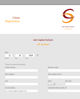 HR Client Registration Form