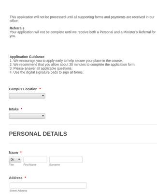 Religious Studies Application Form
