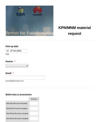 Material request KPN/MNM