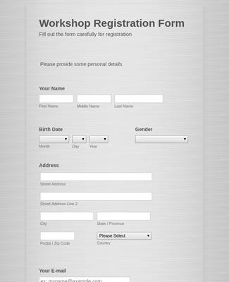 Workshop Application Form