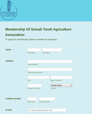 Youth Agriculture Association Membership Form