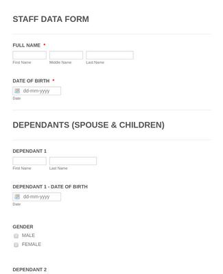 Staff Information Form