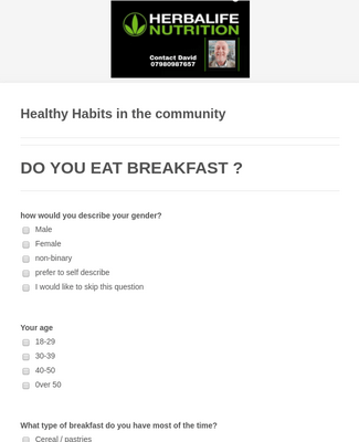 Healthy Habits Questionnaire