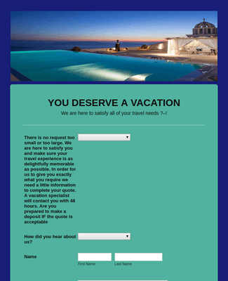 Vacation Quote Request Form