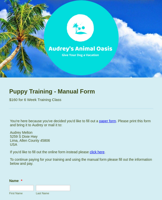 Puppy Training Purchase Form