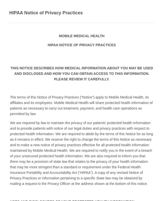 HIPAA Notice of Privacy Practices & Acknowledgement Form