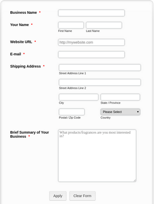 Wholesale Application Form