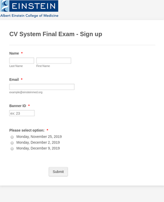 Exam Sign-up Form