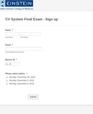 Exam Sign-up Form