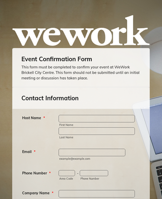 Event Confirmation Form