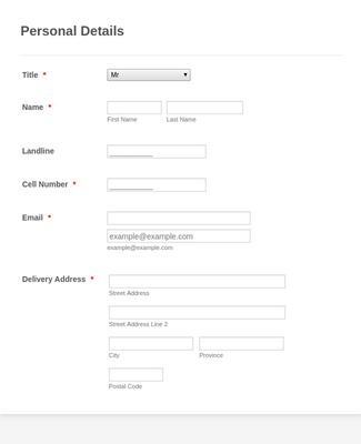 Customer Registration Form Template