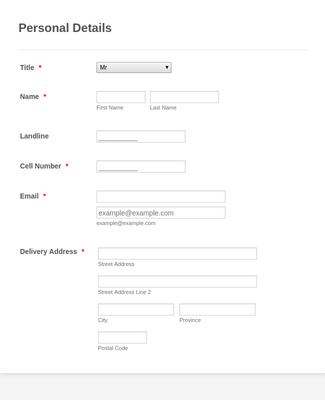 Customer Registration Form Template