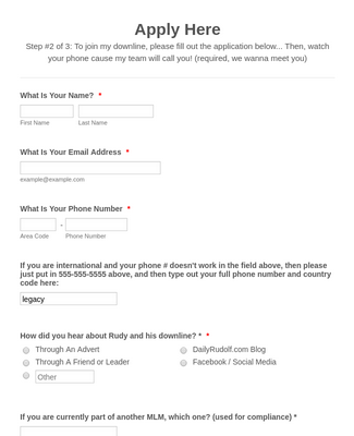 Downline Application Form