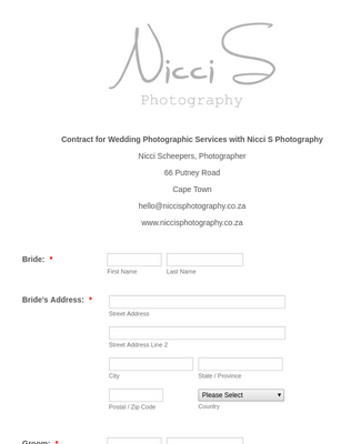 Wedding Photography Contract and Agreement Form