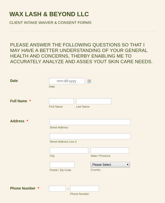 New Customer Consent and Waiver Form