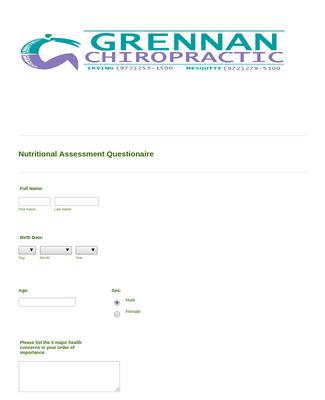 Nutritional Assessment Questionnaire Form