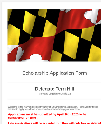 Legislative Scholarship Application Form