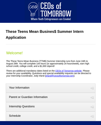 Summer Internship Application Form