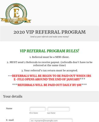 VIP Referral Form