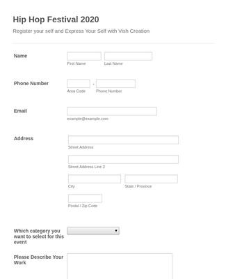 Hip Hop Festival Registration Form