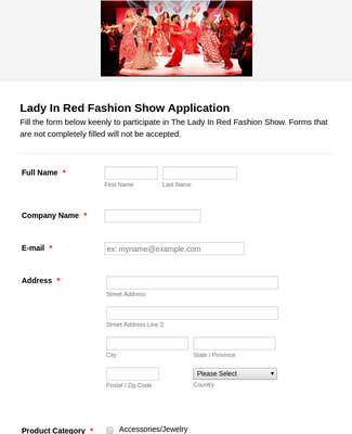 Fashion Show Vendor Application Form