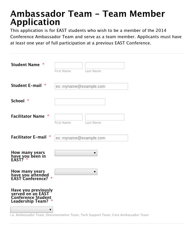 Ambassador Team - Team Member Application