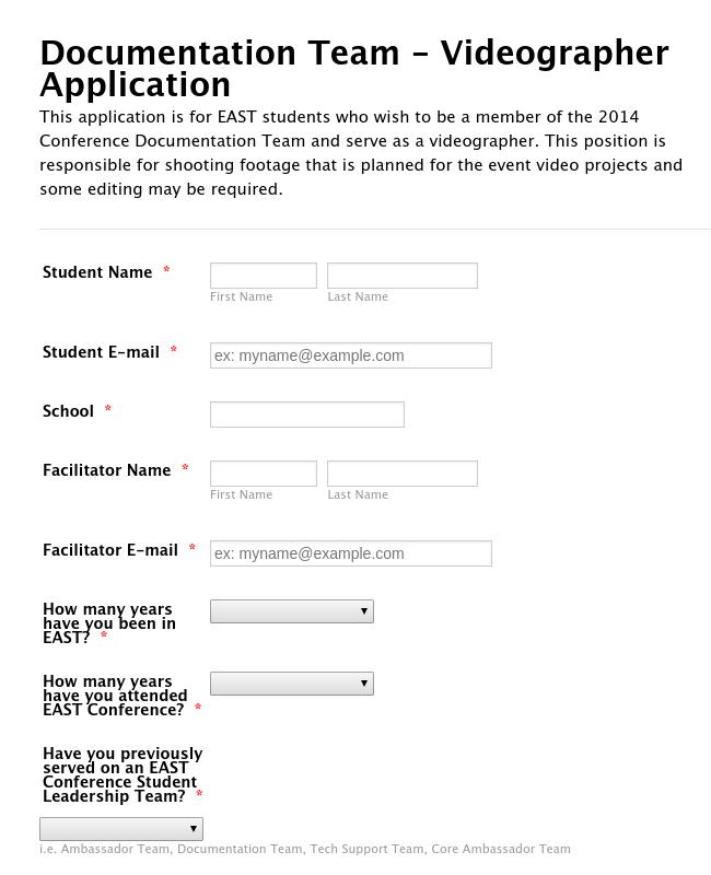 Documentation Team - Videographer Application