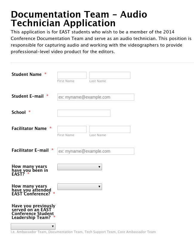 Documentation Team - Audio Technician Application