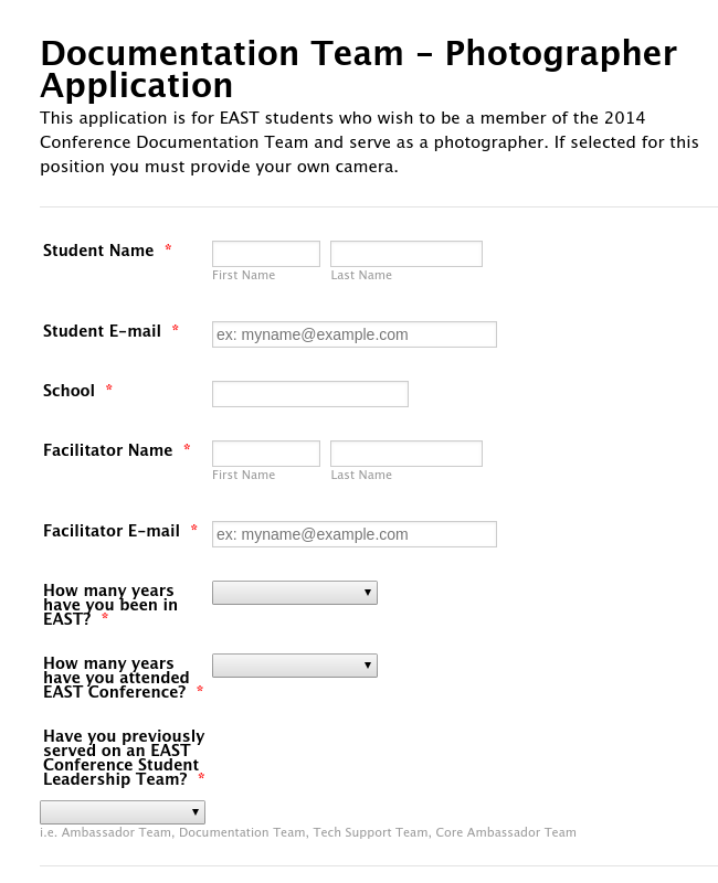 Documentation Team - Photographer Application