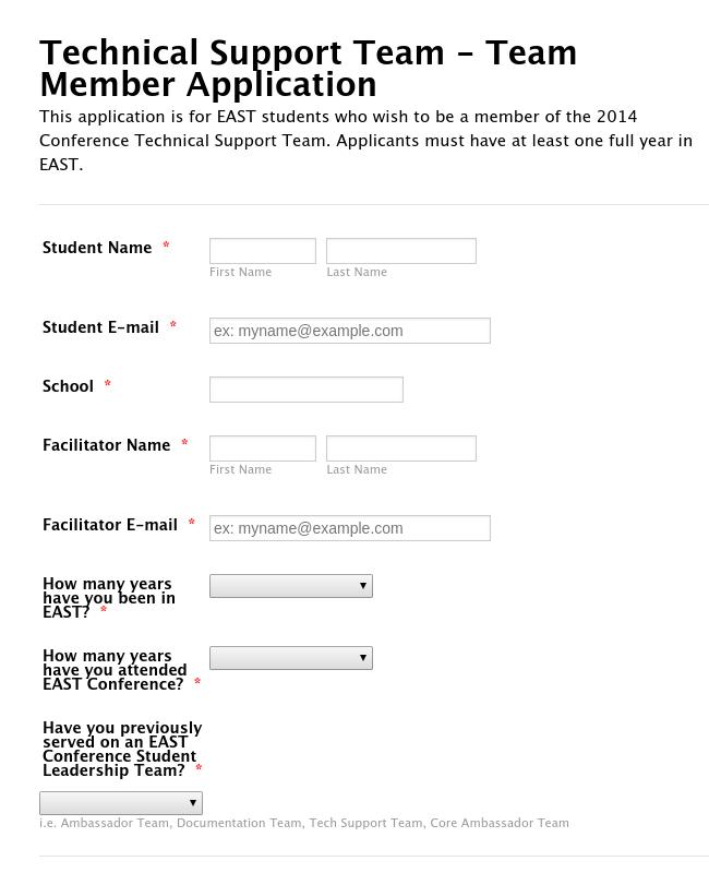 Technical Support Team - Team Member Application