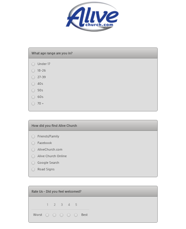 Church Guest Questionnaire