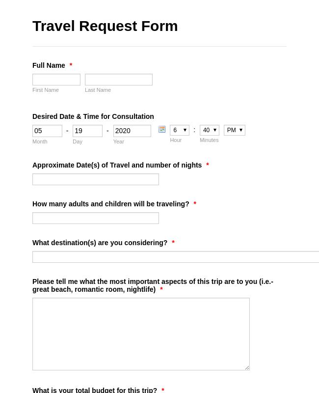 order form adalah  Travel Reservation Form Template   JotForm