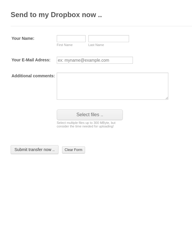 File Upload Form - Send to Dropbox