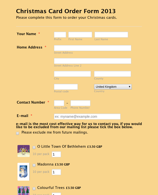 Online Order Form Template - Christmas cards