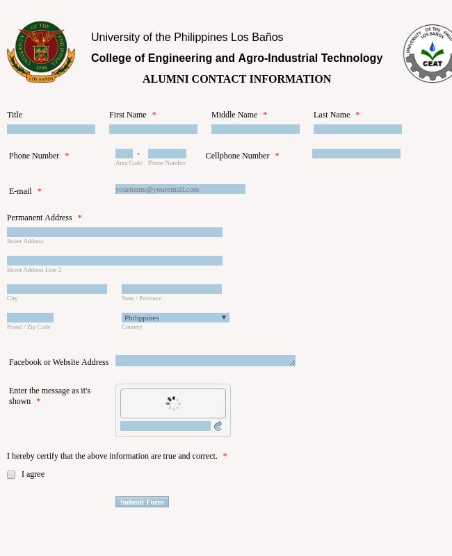UPLB CEAT Alumni Contact Information