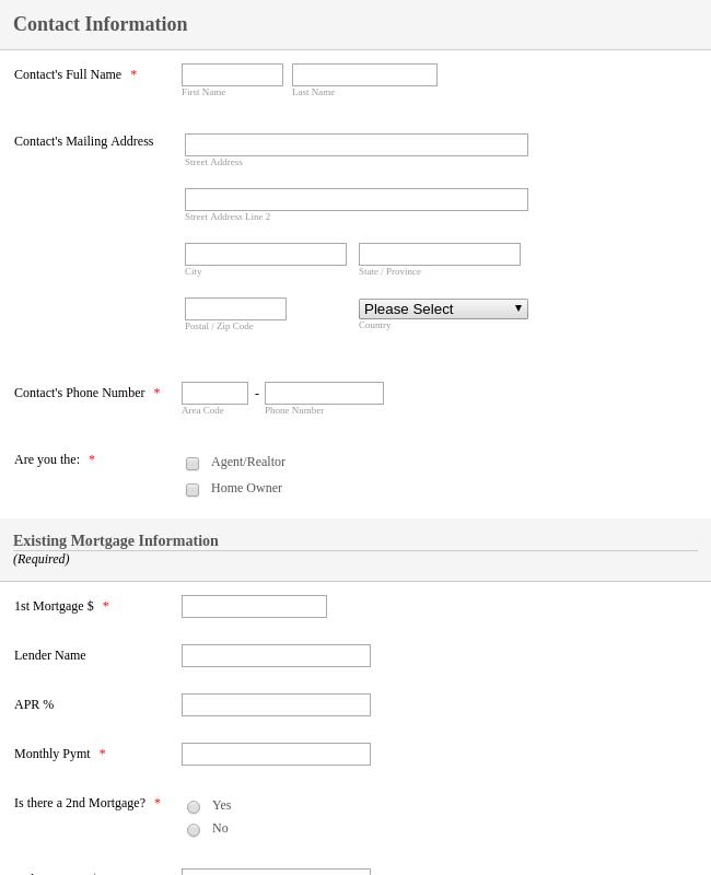 Real Estate Seller Information Form Template