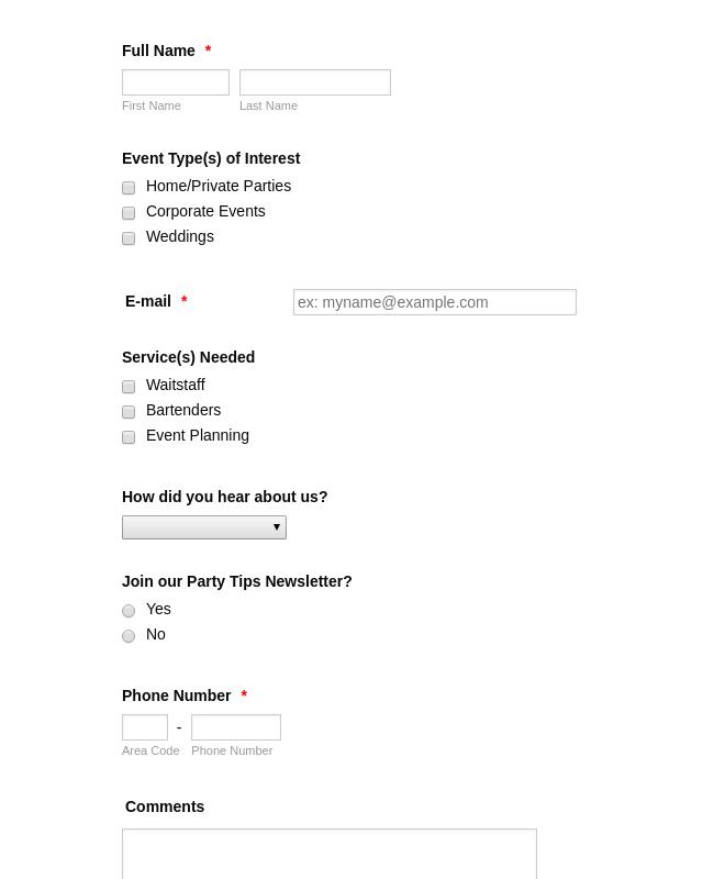 Hire a Host Contact Us Form