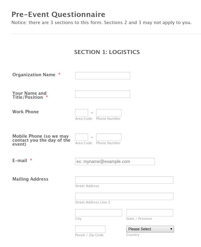 Pre-Event Questionnaire