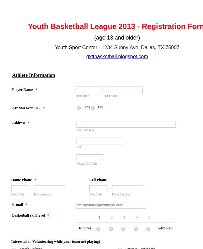 Basketball League Registration Form Template Jotform