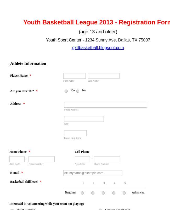 Basketball League Registration Form Template