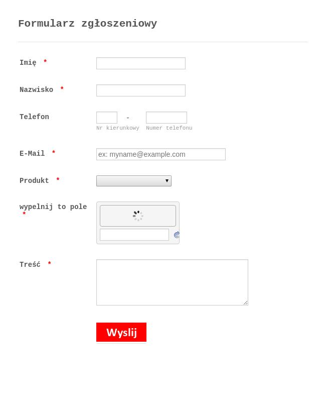 Application Form in Polish