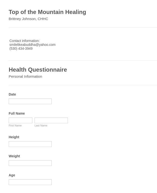 An online Health Questionnaire