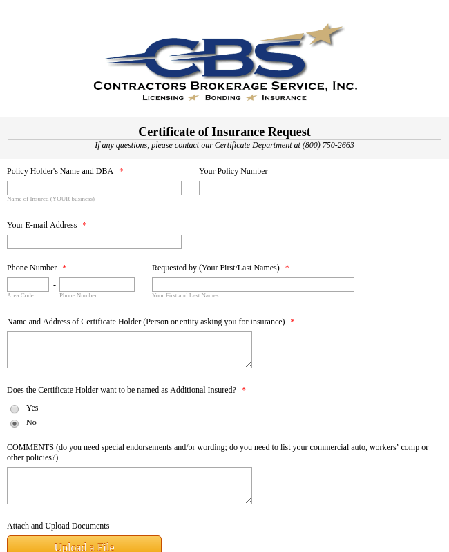 Insurance Certificate Request Form