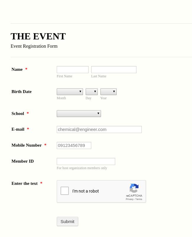 Prom Registration Form