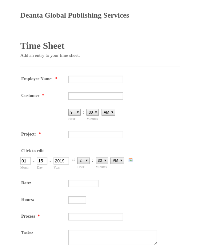 Deanta Emplyoee Time Sheet