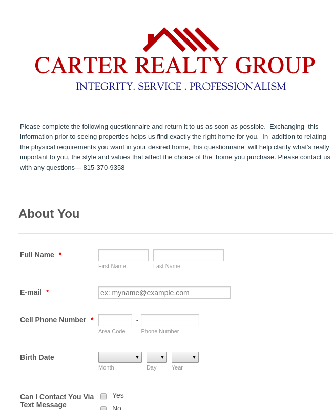 Realty Buyers Information Form