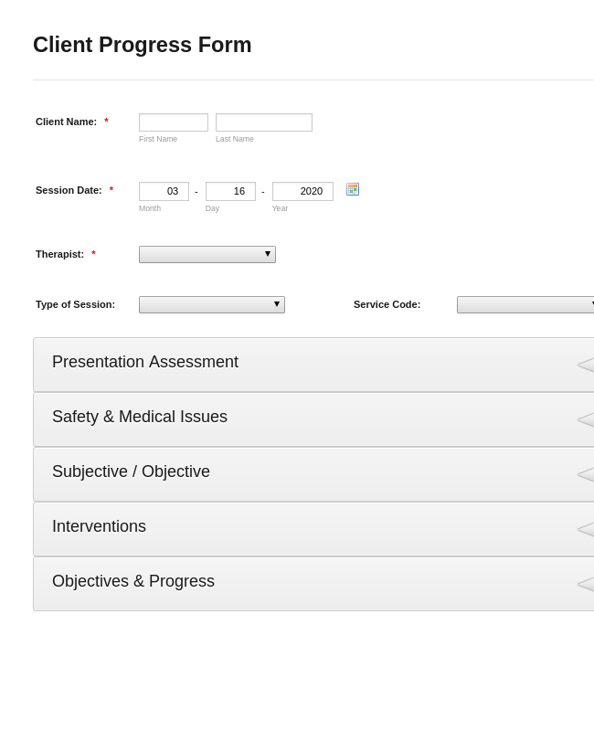 Patient Progress Form Template