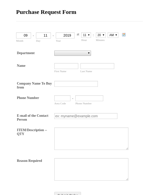 Department Purchase Request Form